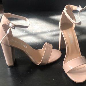 Nude open toe'd heels